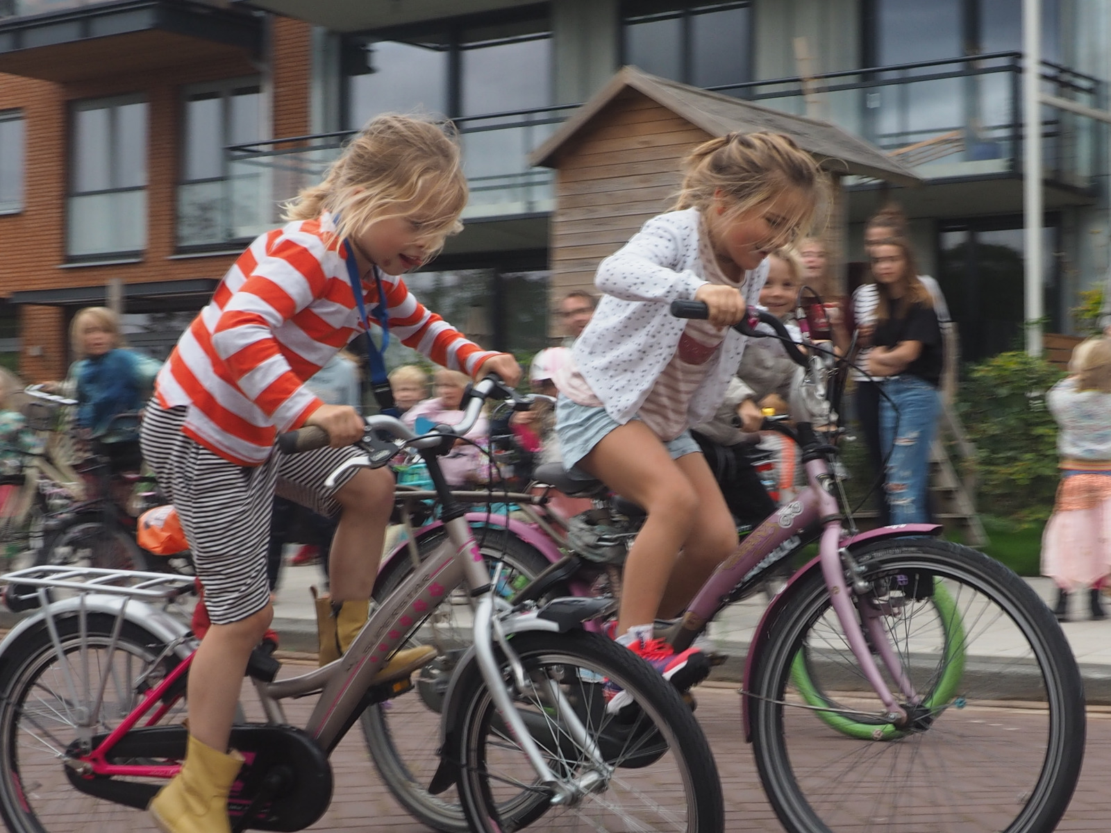 Kids enjoying their bicycle race in Amsterdam