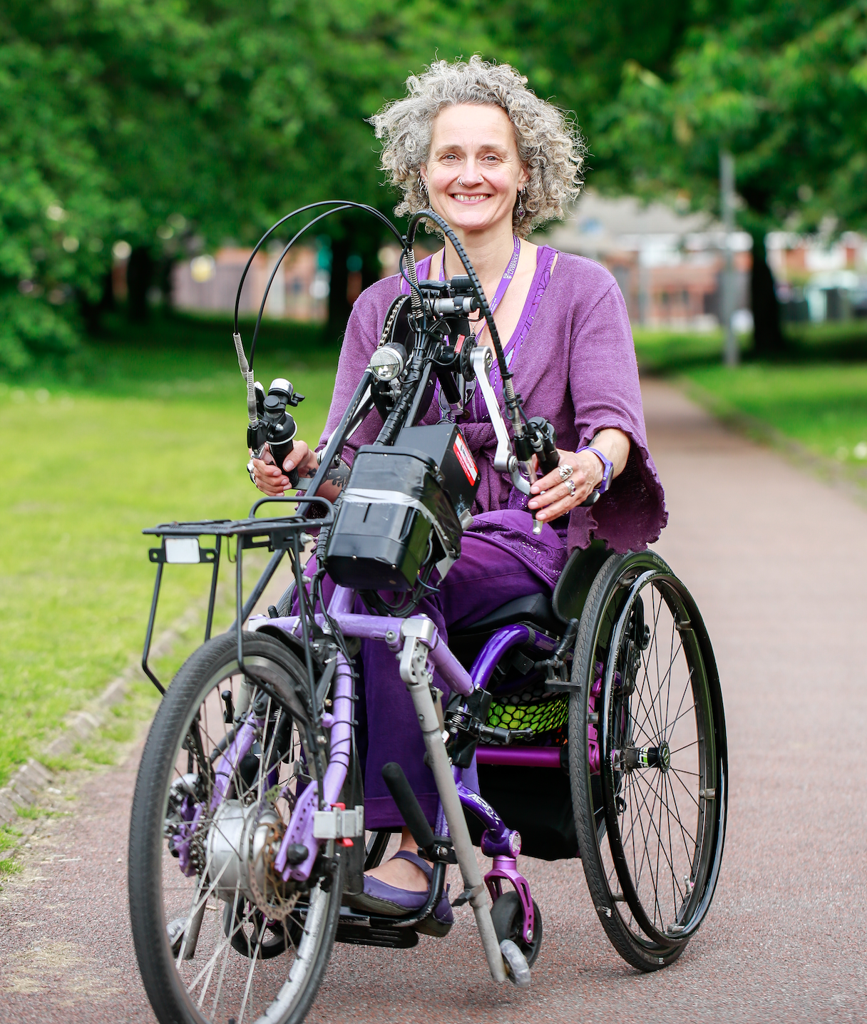 Kay Inckle on a handcycle