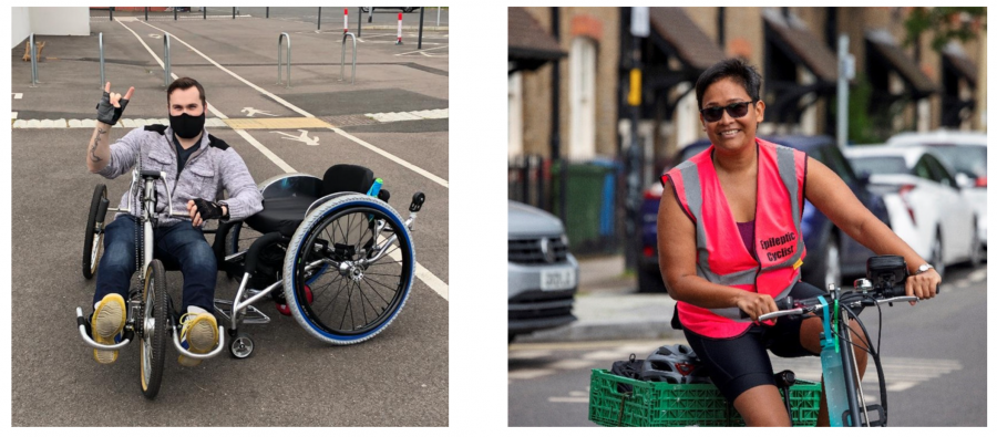 Members of Wheels for Wellbeing cycling